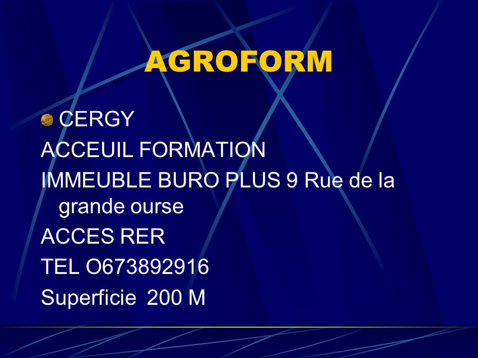 AGROFORM CERGY ACCEUIL FORMATION