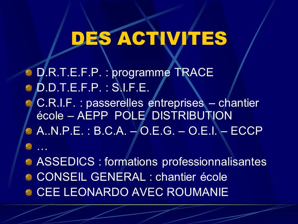 DES ACTIVITES D.R.T.E.F.P. : programme TRACE D.D.T.E.F.P. : S.I.F.E.