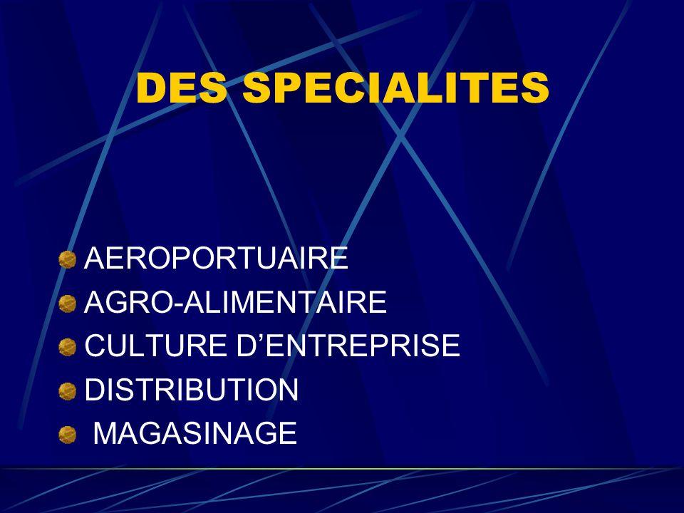 DES SPECIALITES AEROPORTUAIRE AGRO-ALIMENTAIRE CULTURE D'ENTREPRISE