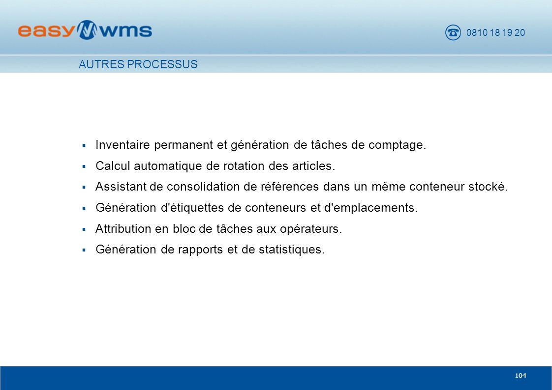 Inventaire permanent et génération de tâches de comptage.
