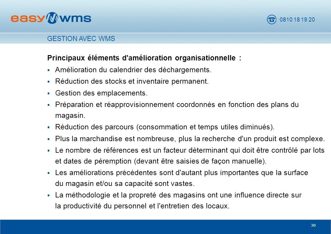 Principaux éléments d amélioration organisationnelle :
