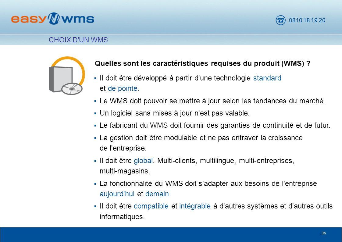 Quelles sont les caractéristiques requises du produit (WMS)