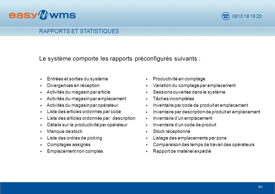Le système comporte les rapports préconfigurés suivants :