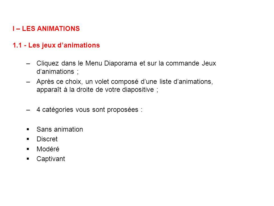 I – LES ANIMATIONS 1.1 - Les jeux d'animations. Cliquez dans le Menu Diaporama et sur la commande Jeux d'animations ;