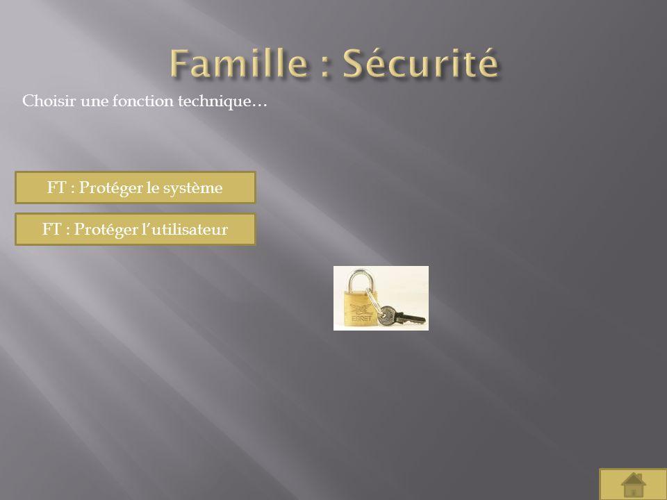 Famille : Sécurité Choisir une fonction technique…