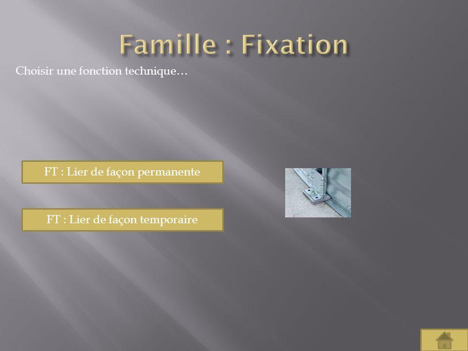 Famille : Fixation Choisir une fonction technique…
