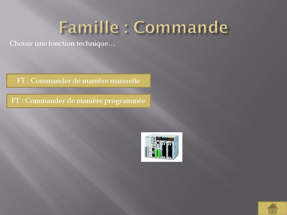 Famille : Commande Choisir une fonction technique…