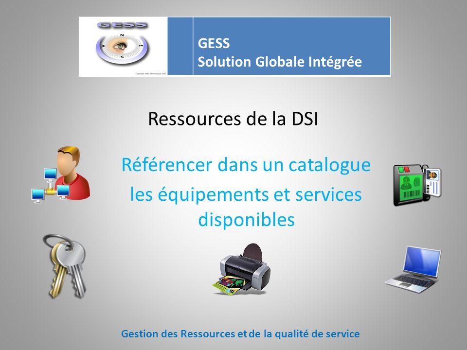Référencer dans un catalogue les équipements et services disponibles