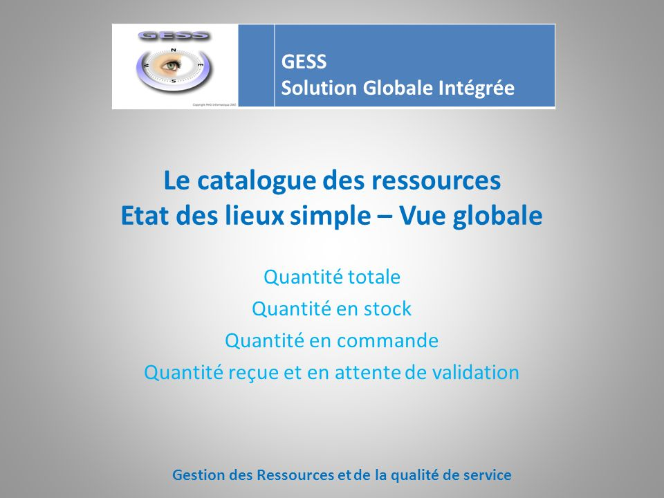 Le catalogue des ressources Etat des lieux simple – Vue globale