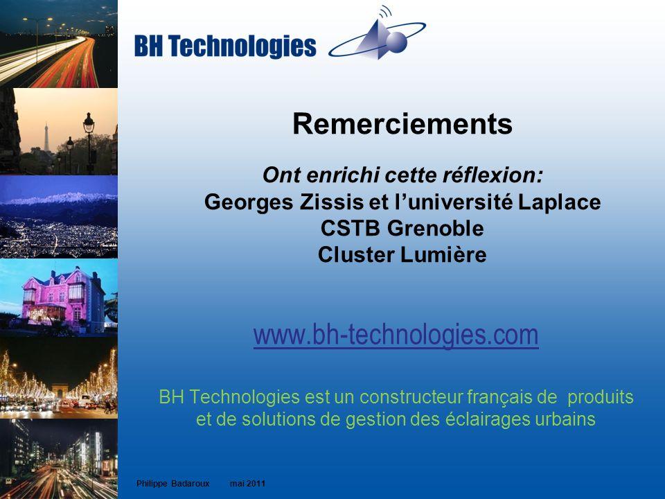 Remerciements Ont enrichi cette réflexion: Georges Zissis et l'université Laplace CSTB Grenoble Cluster Lumière