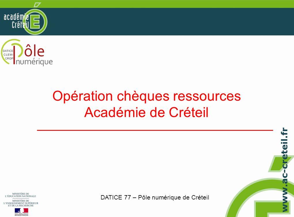 Opération chèques ressources