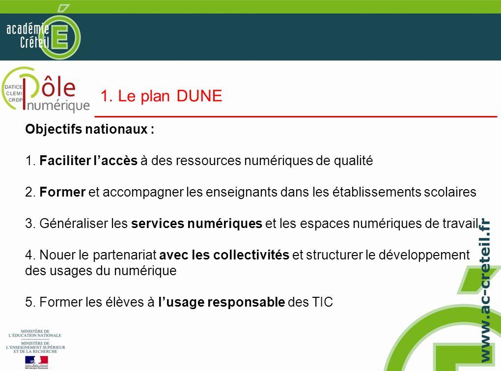 1. Le plan DUNE Objectifs nationaux :