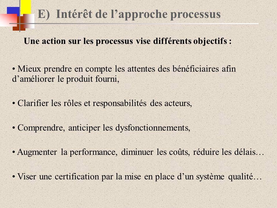 E) Intérêt de l'approche processus