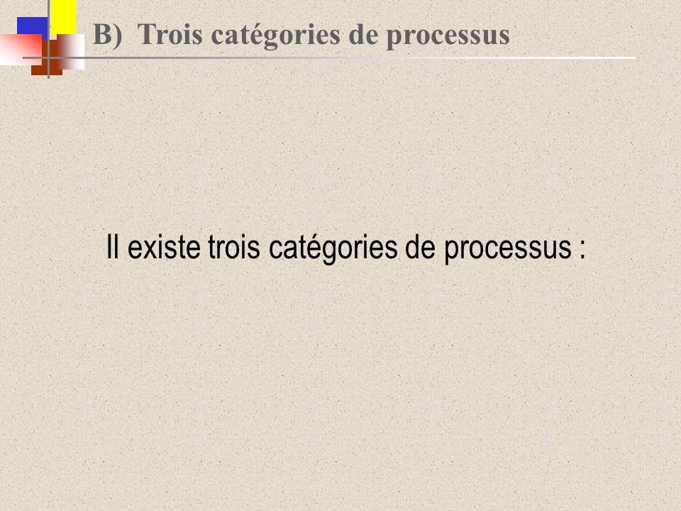 Il existe trois catégories de processus :