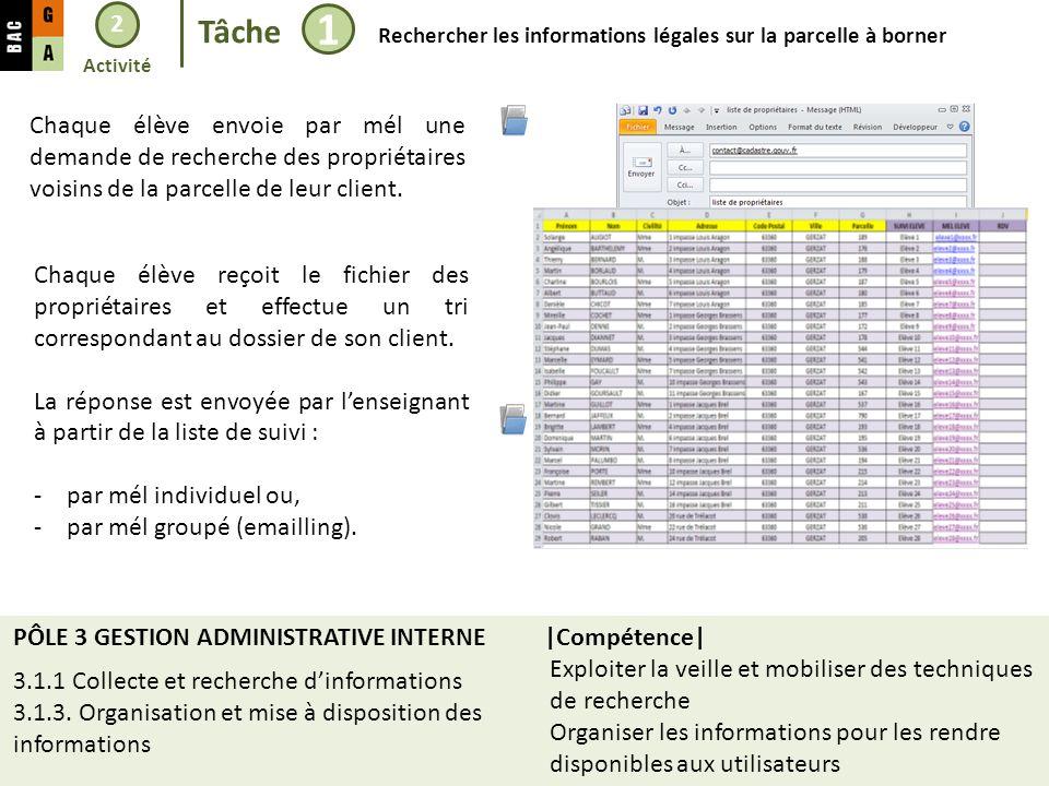 2 Tâche. 1. Rechercher les informations légales sur la parcelle à borner. Activité.