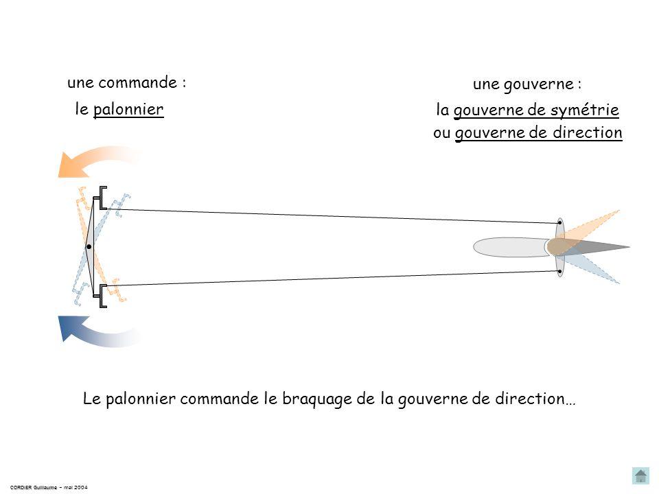 la gouverne de symétrie ou gouverne de direction