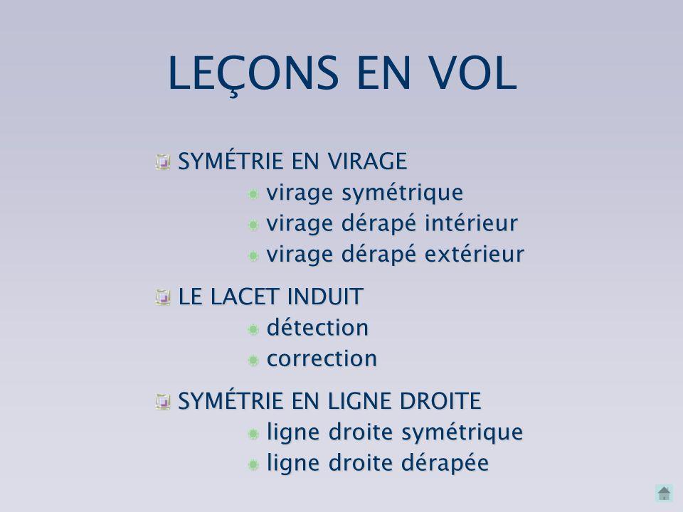 LEÇONS EN VOL SYMÉTRIE EN VIRAGE virage symétrique