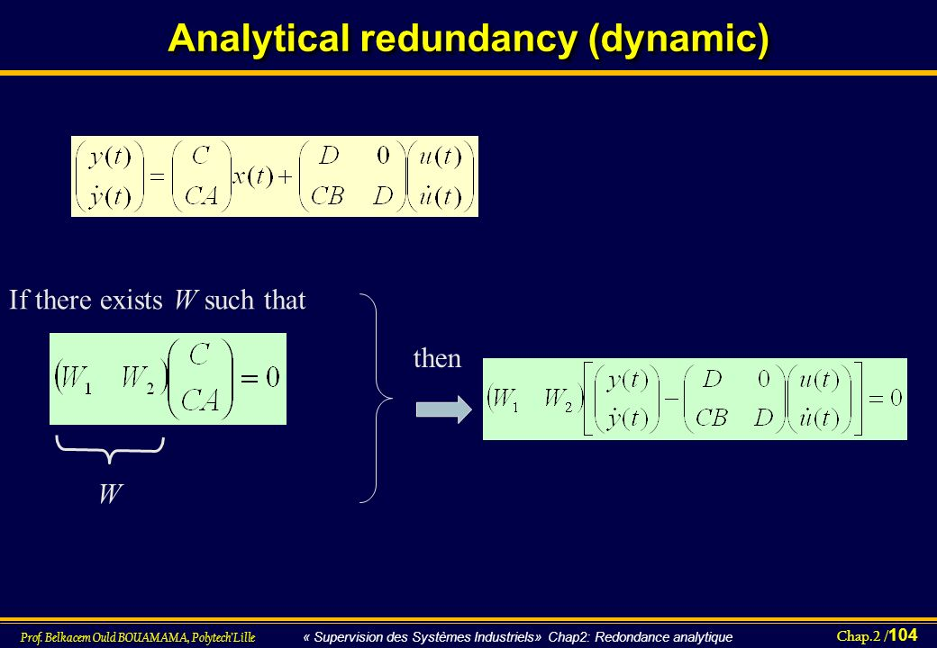 Analytical redundancy (dynamic)
