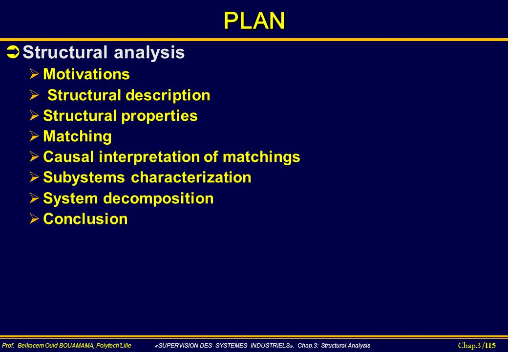 PLAN Structural analysis Motivations Structural description