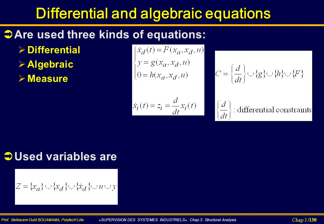 Differential and algebraic equations