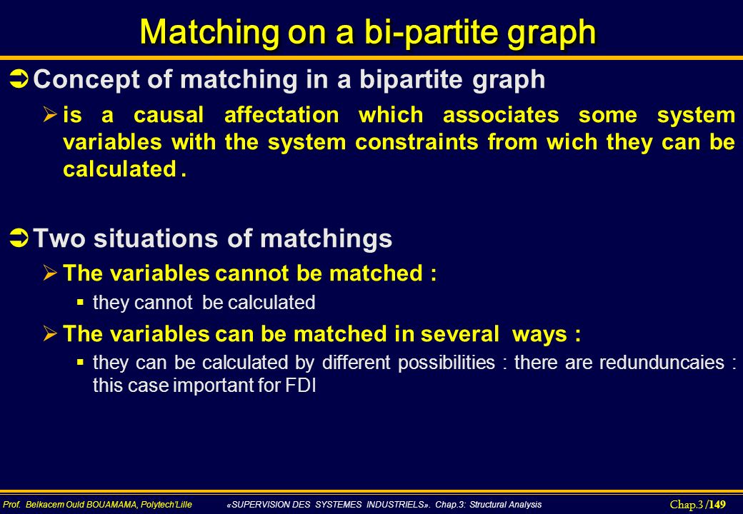 Matching on a bi-partite graph