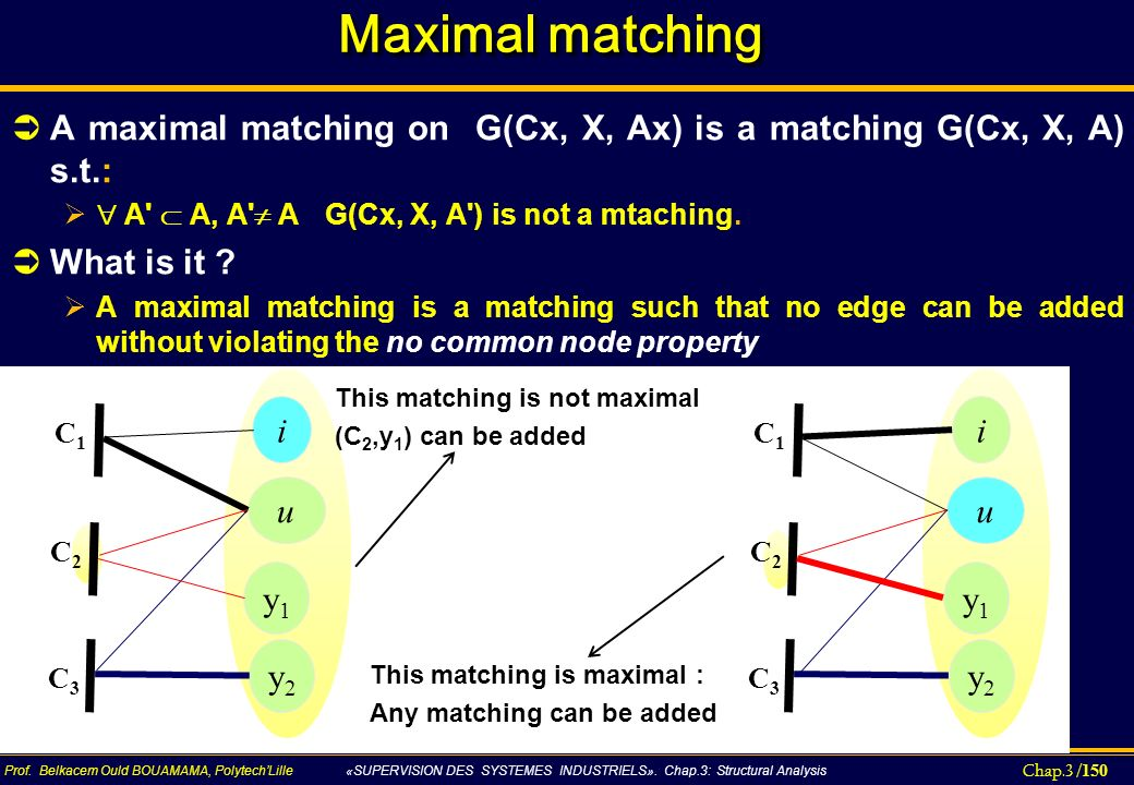 Maximal matching A maximal matching on G(Cx, X, Ax) is a matching G(Cx, X, A) s.t.:  A  A, A  A G(Cx, X, A ) is not a mtaching.