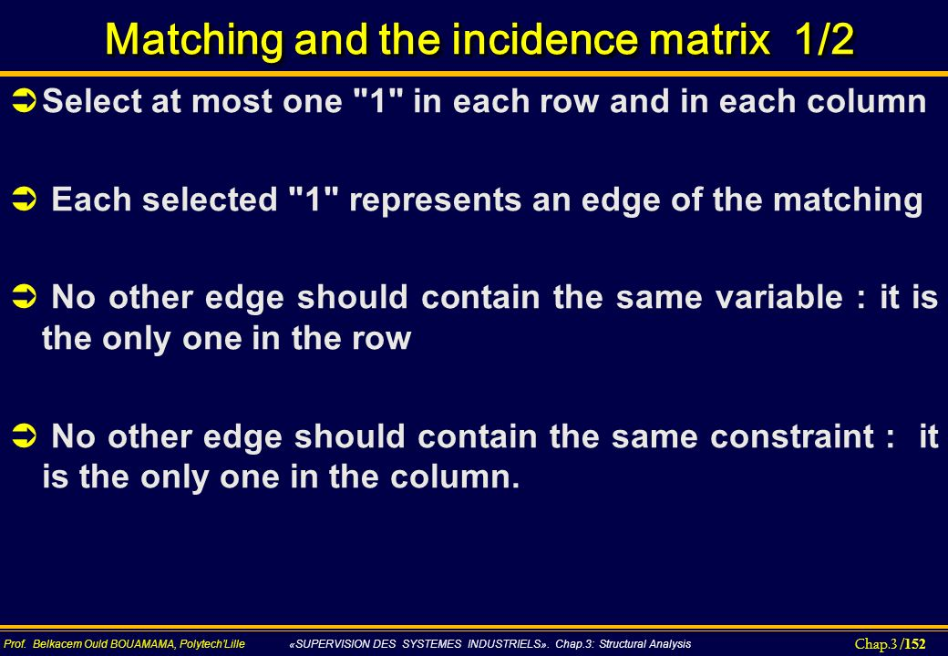 Matching and the incidence matrix 1/2