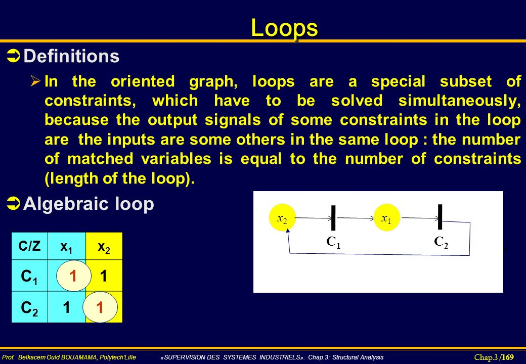 Loops Definitions Algebraic loop
