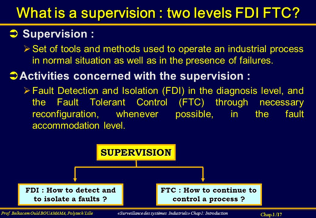 What is a supervision : two levels FDI FTC