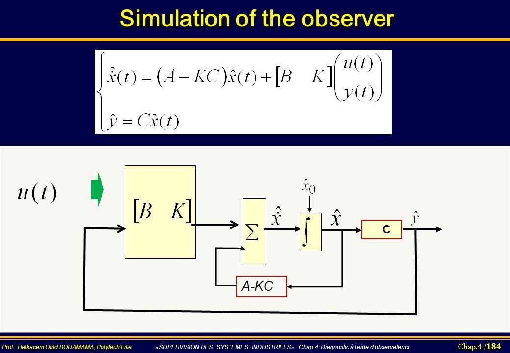 Simulation of the observer
