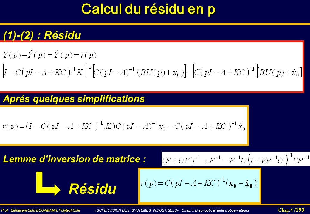 Calcul du résidu en p Résidu (1)-(2) : Résidu