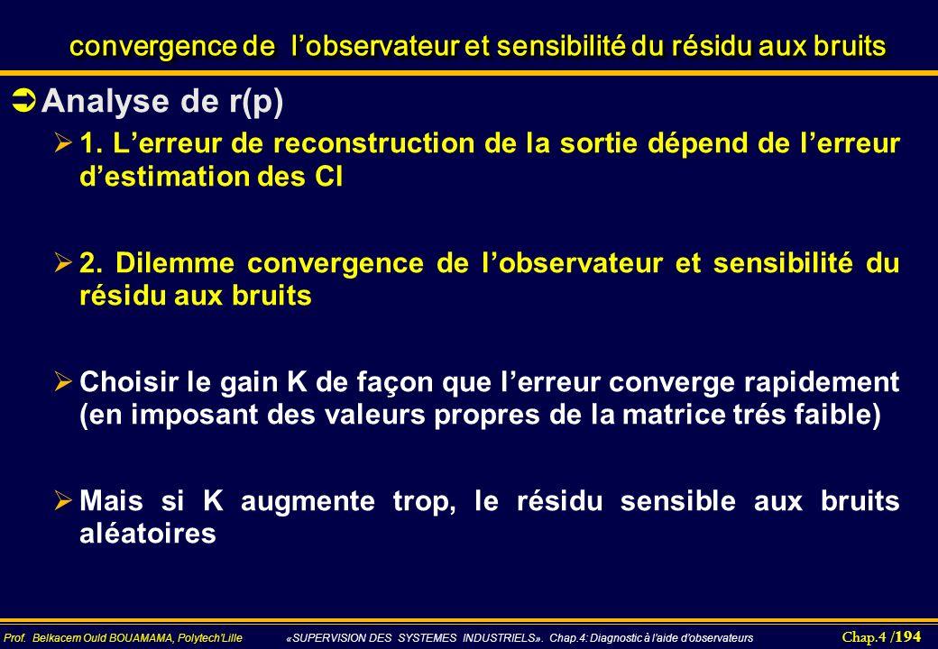convergence de l'observateur et sensibilité du résidu aux bruits