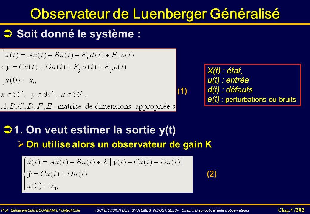 Observateur de Luenberger Généralisé