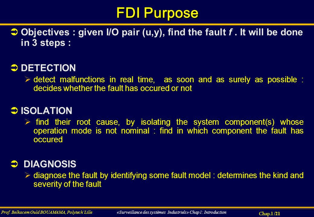 FDI Purpose Objectives : given I/O pair (u,y), find the fault f . It will be done in 3 steps : DETECTION.