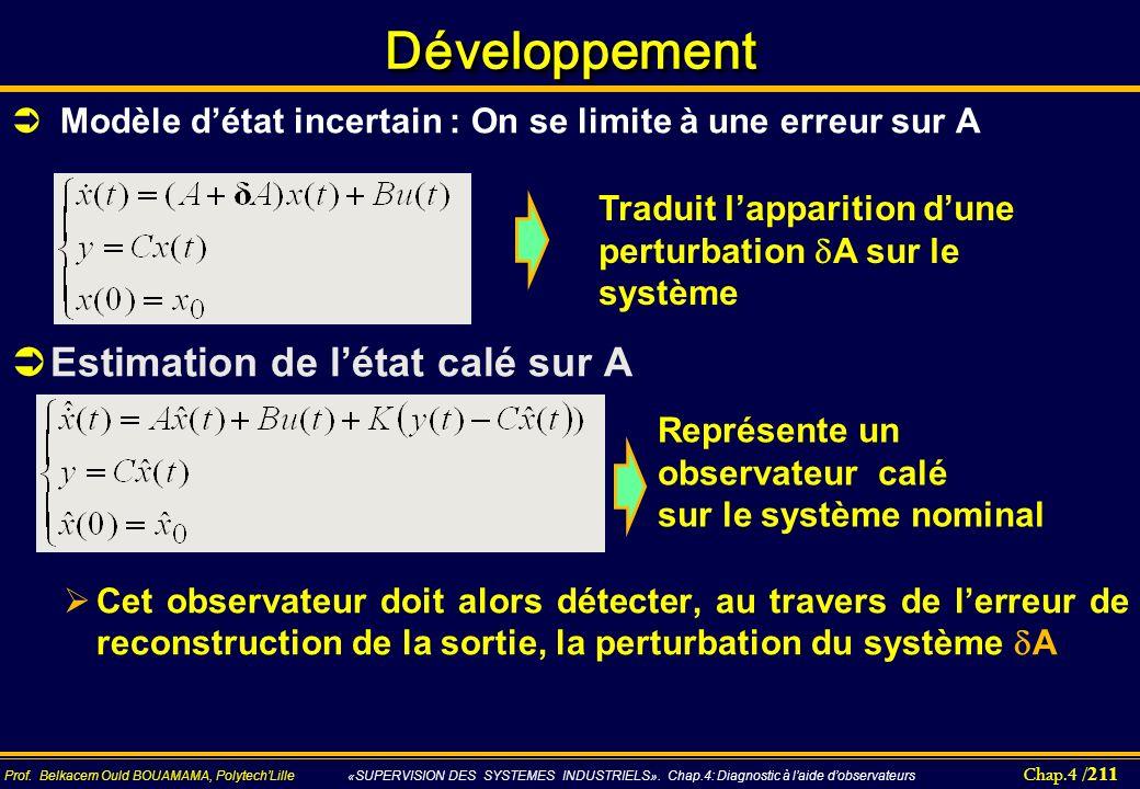 Développement Estimation de l'état calé sur A