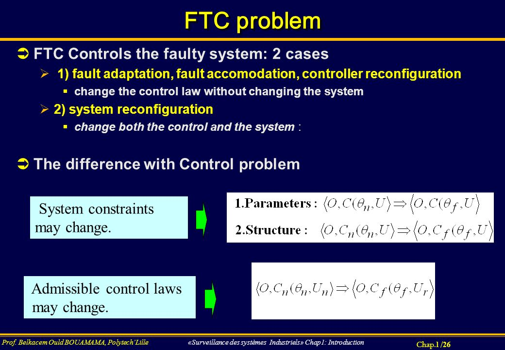FTC problem FTC Controls the faulty system: 2 cases