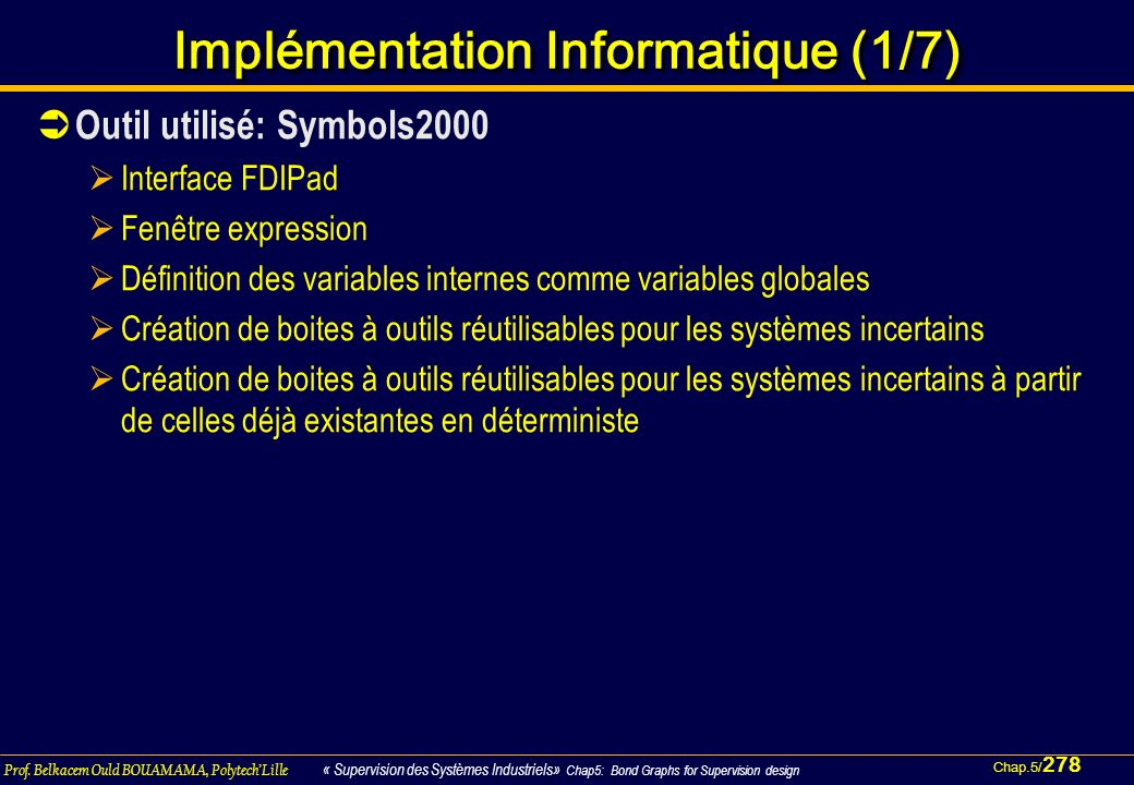 Implémentation Informatique (1/7)