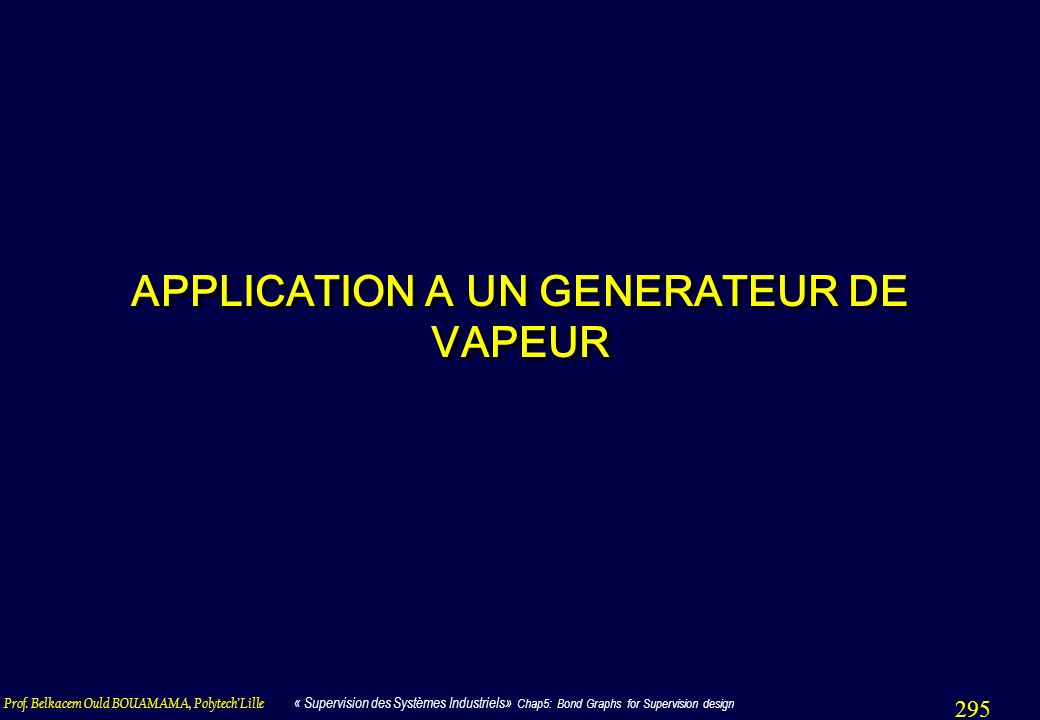 APPLICATION A UN GENERATEUR DE VAPEUR