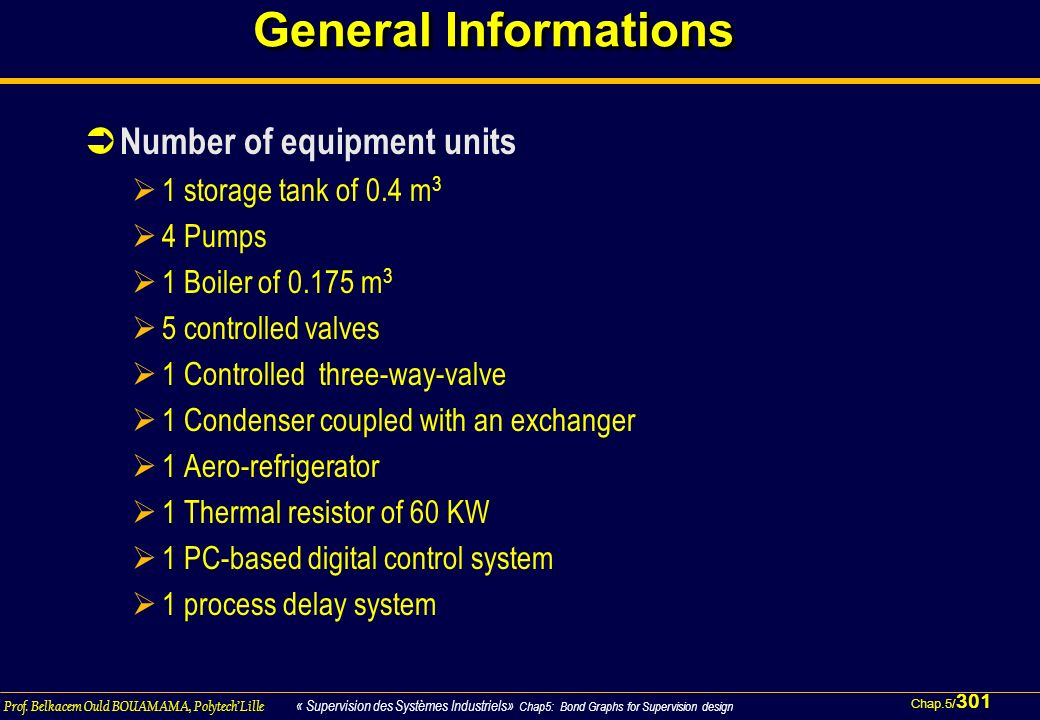 General Informations Number of equipment units