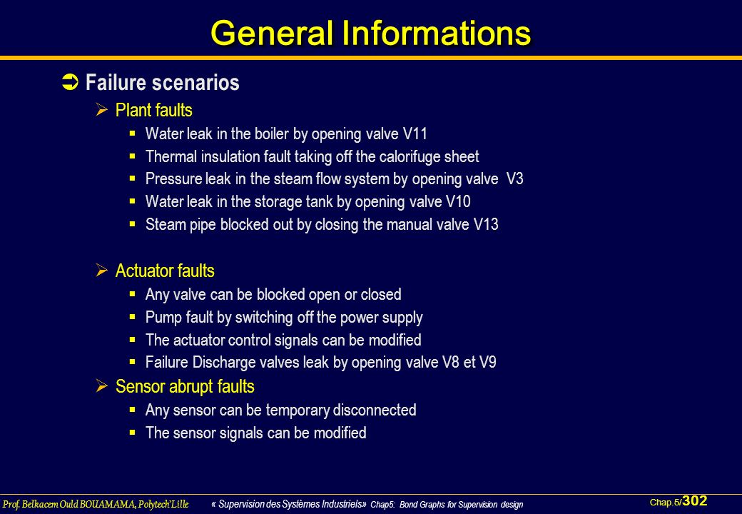 General Informations Failure scenarios Plant faults Actuator faults