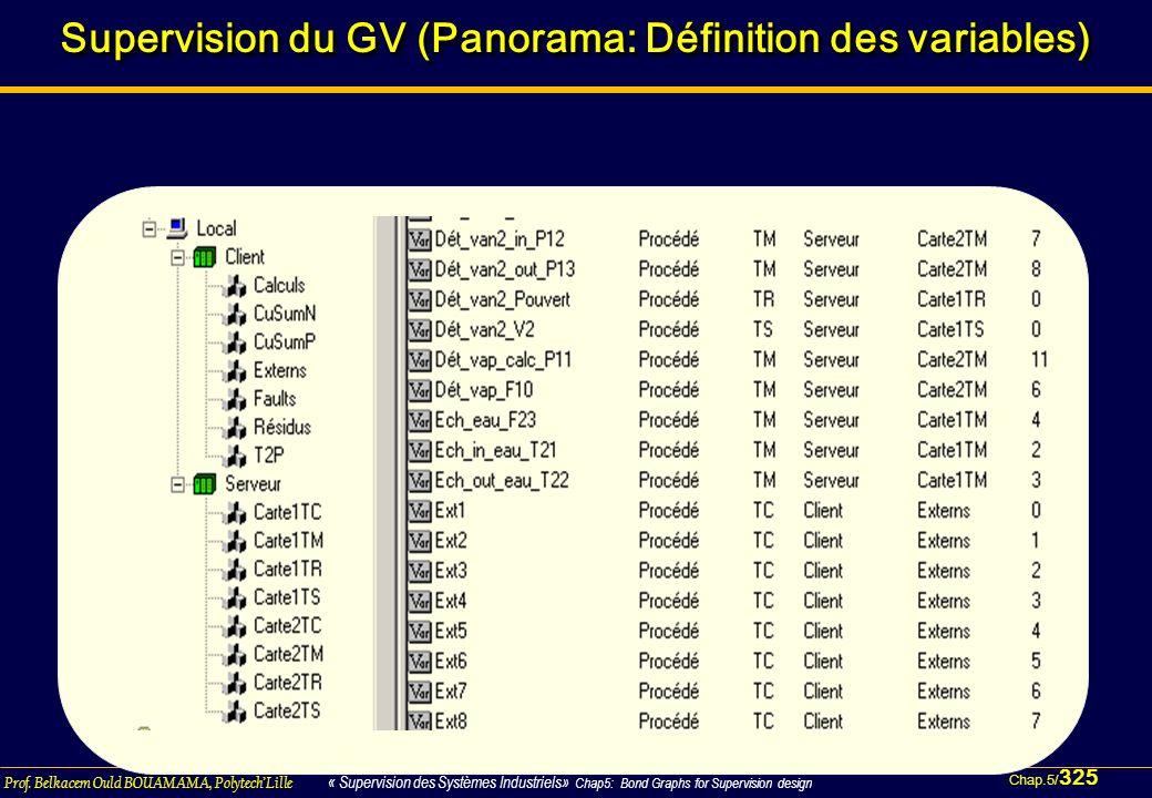 Supervision du GV (Panorama: Définition des variables)