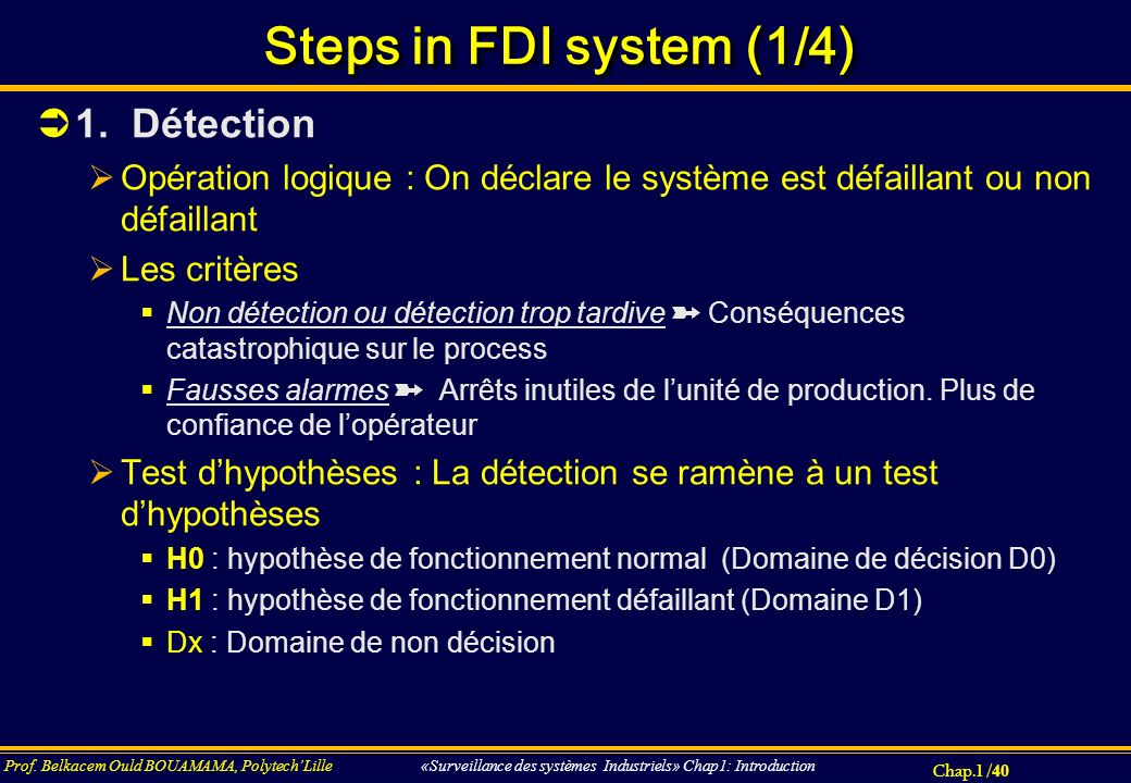 Steps in FDI system (1/4) 1. Détection
