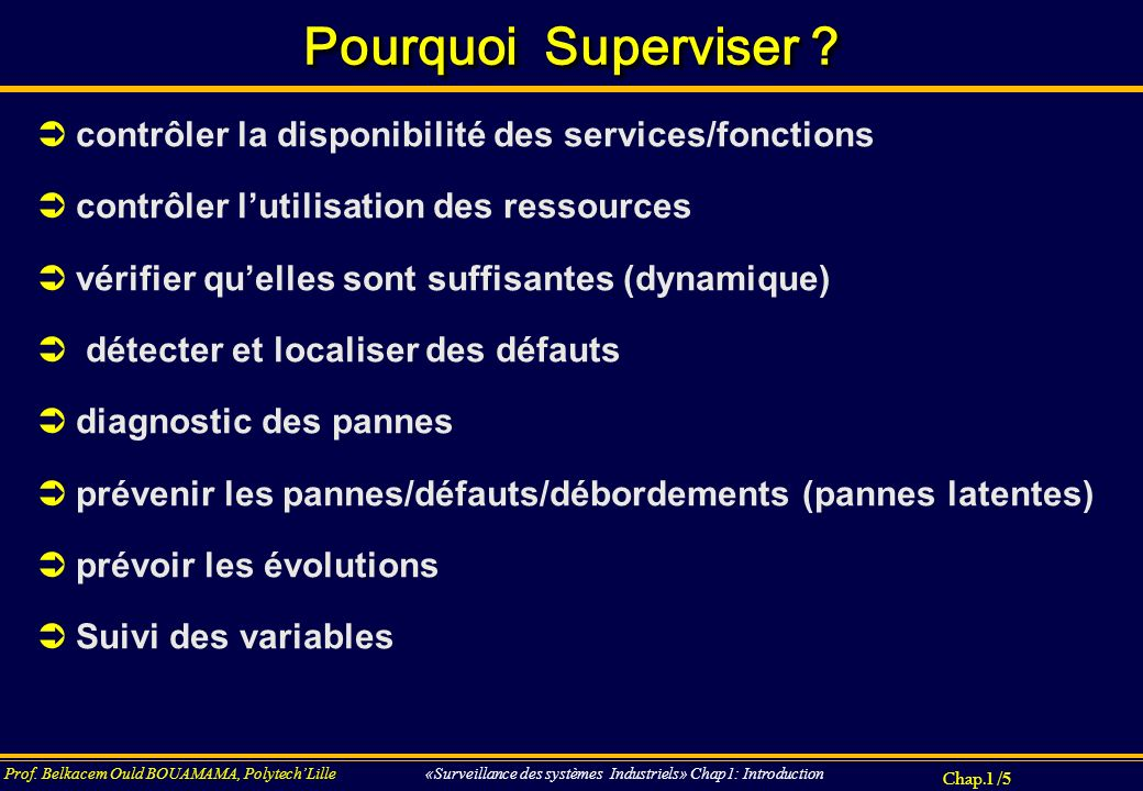 Pourquoi Superviser contrôler la disponibilité des services/fonctions. contrôler l'utilisation des ressources.