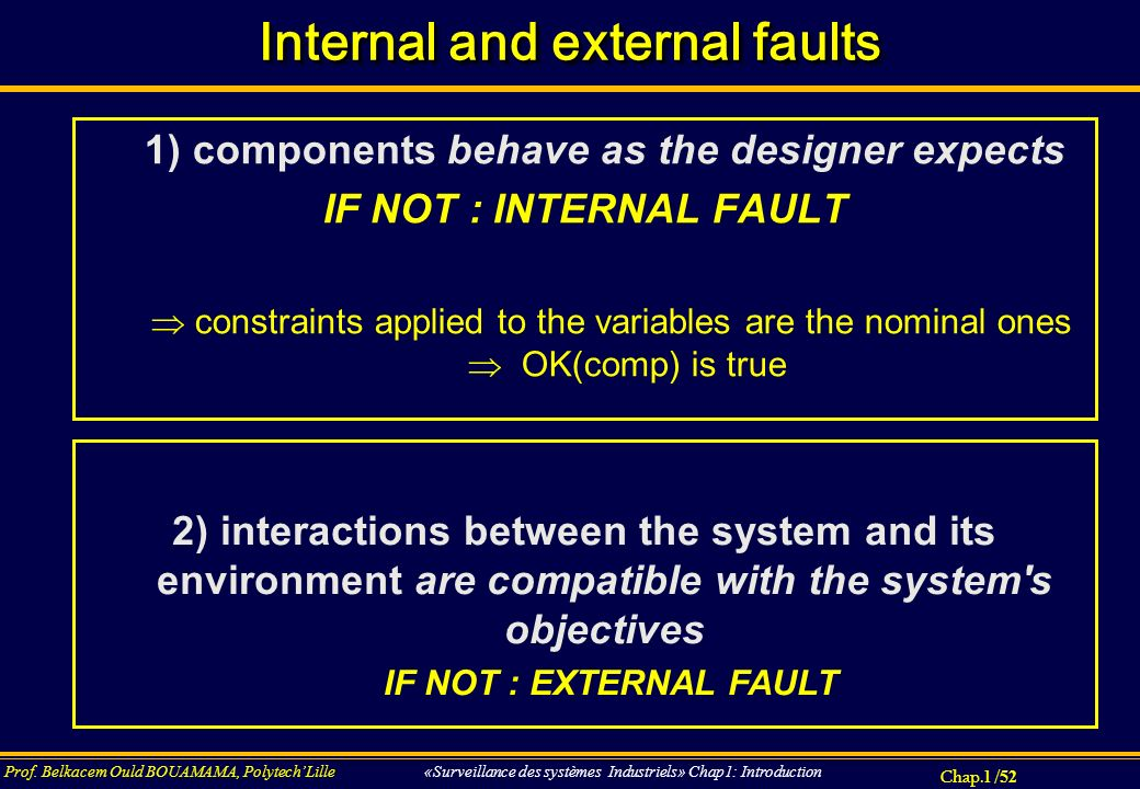 Internal and external faults