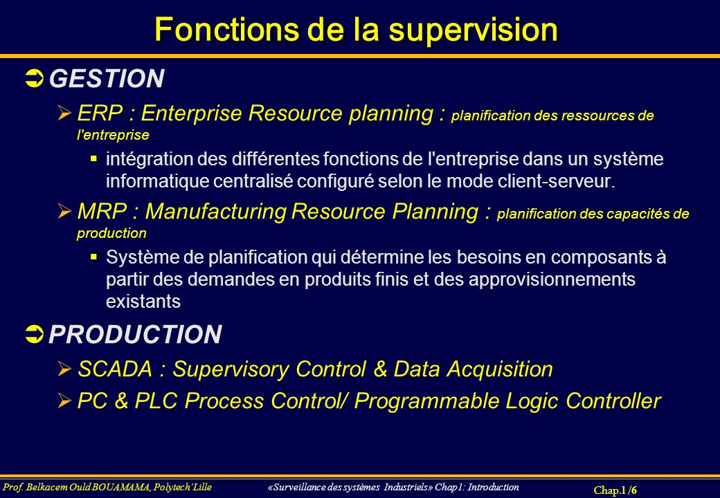 Fonctions de la supervision
