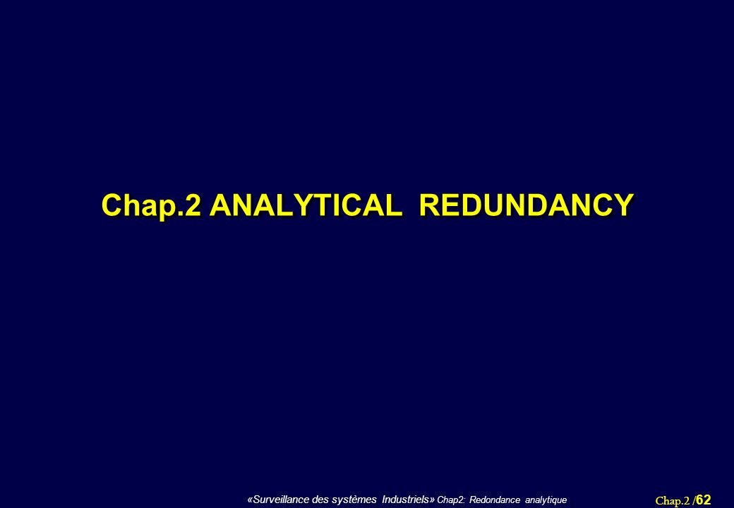 Chap.2 ANALYTICAL REDUNDANCY