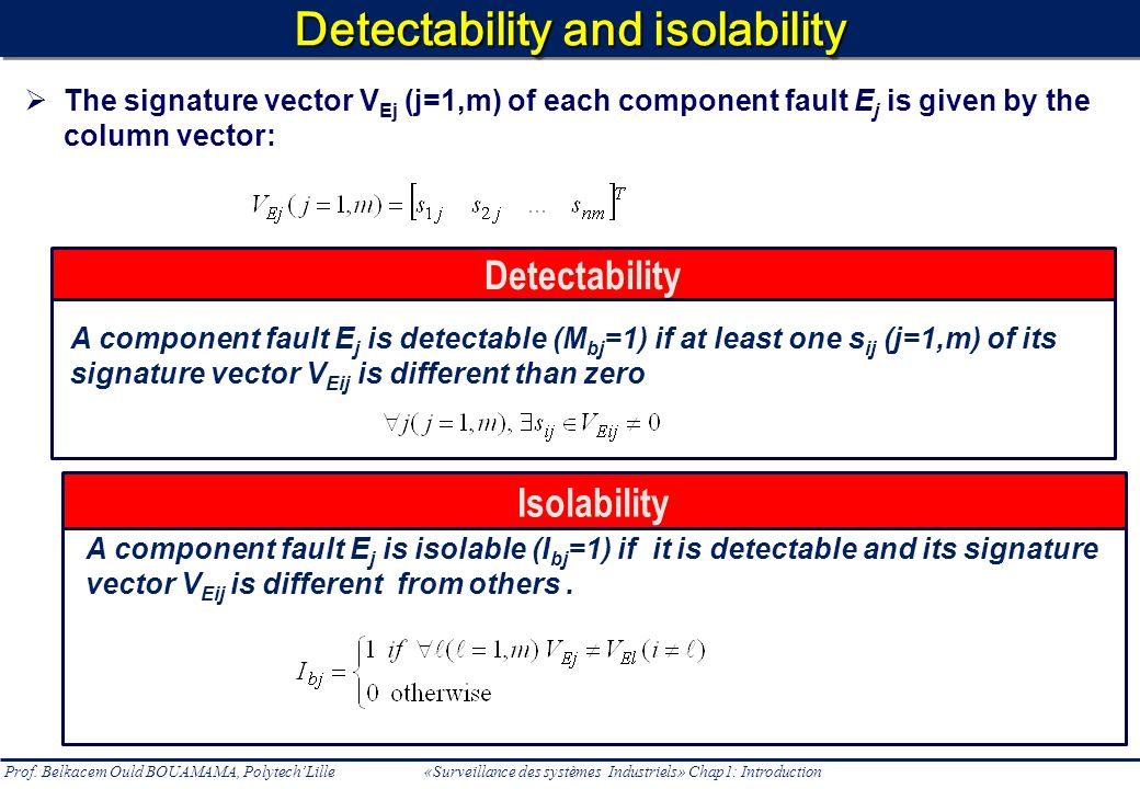 Detectability and isolability
