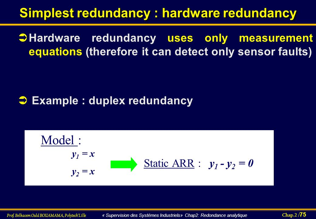 Simplest redundancy : hardware redundancy