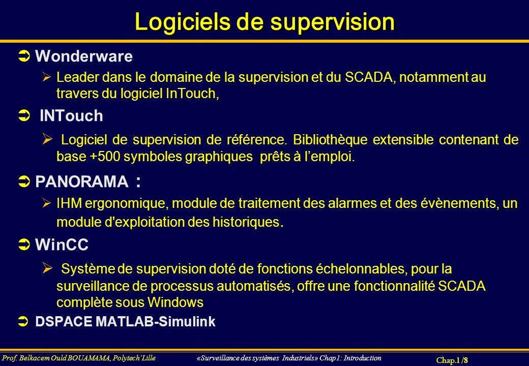 Logiciels de supervision