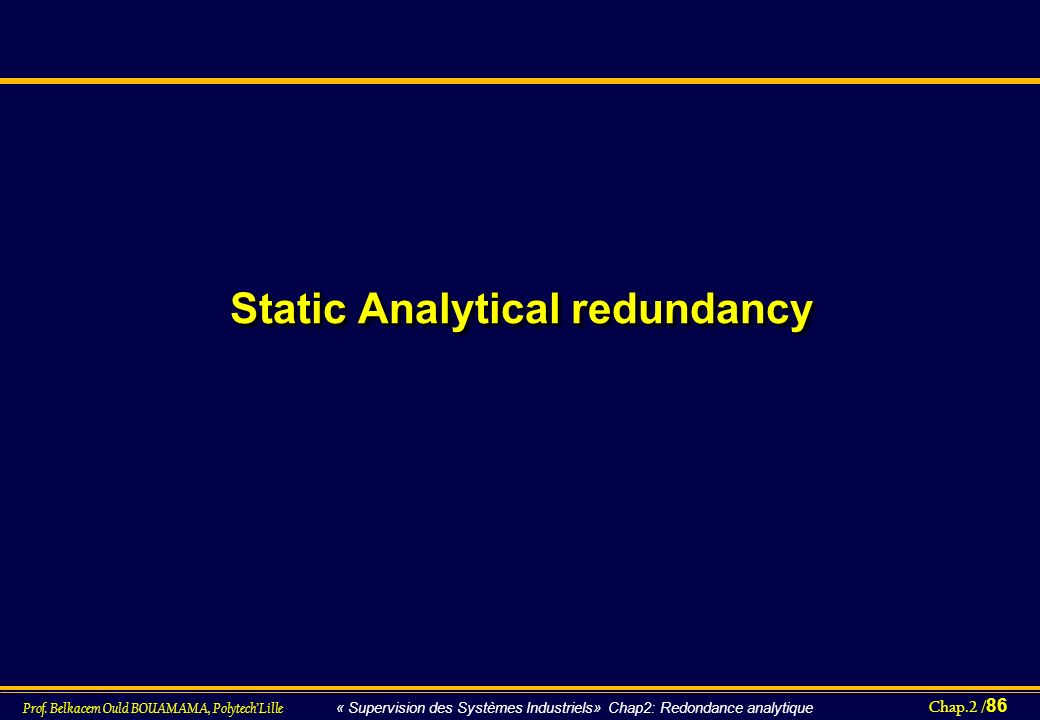 Static Analytical redundancy